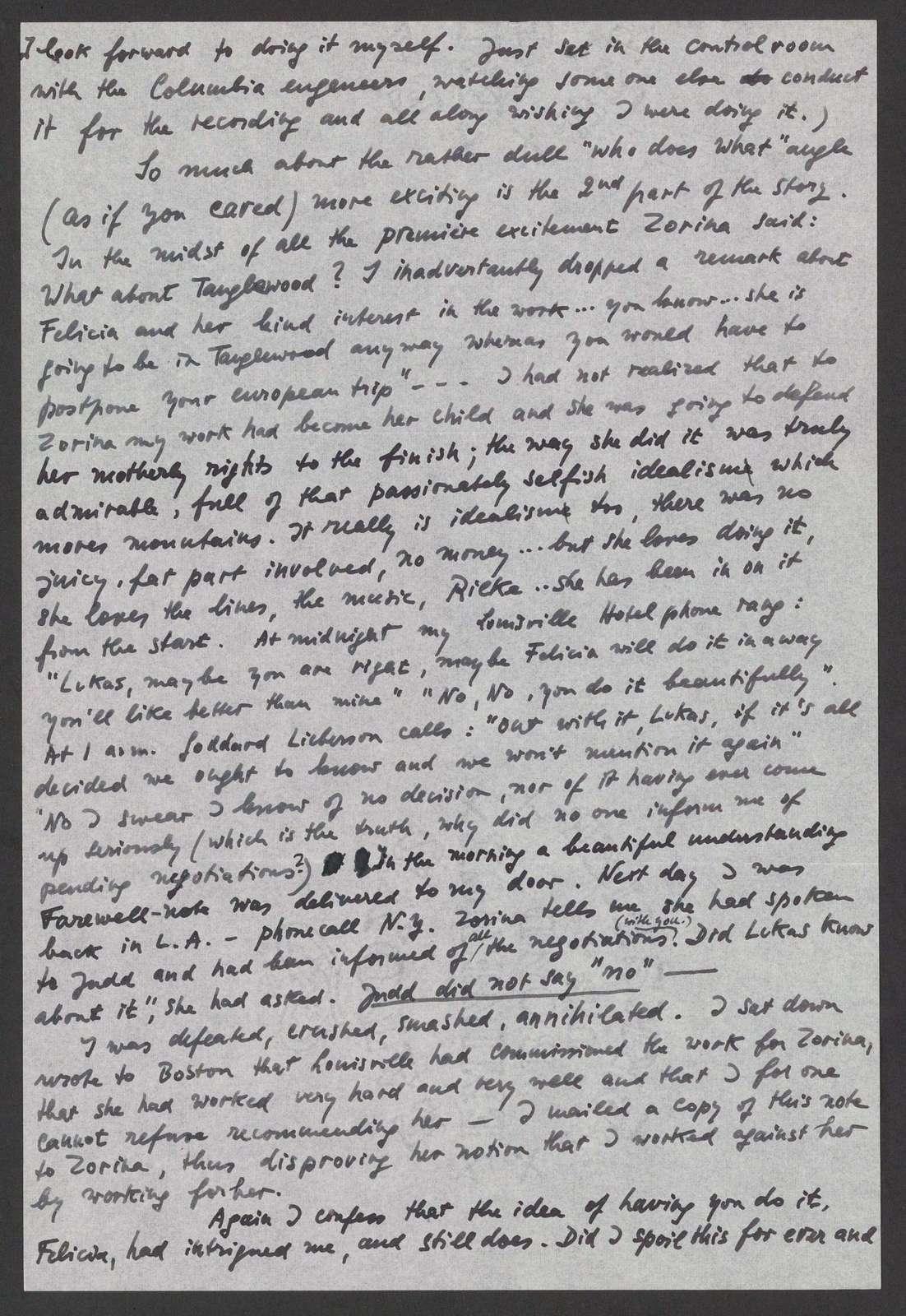 Lukas Foss to Leonard and Felicia Bernstein, March 29, 195?