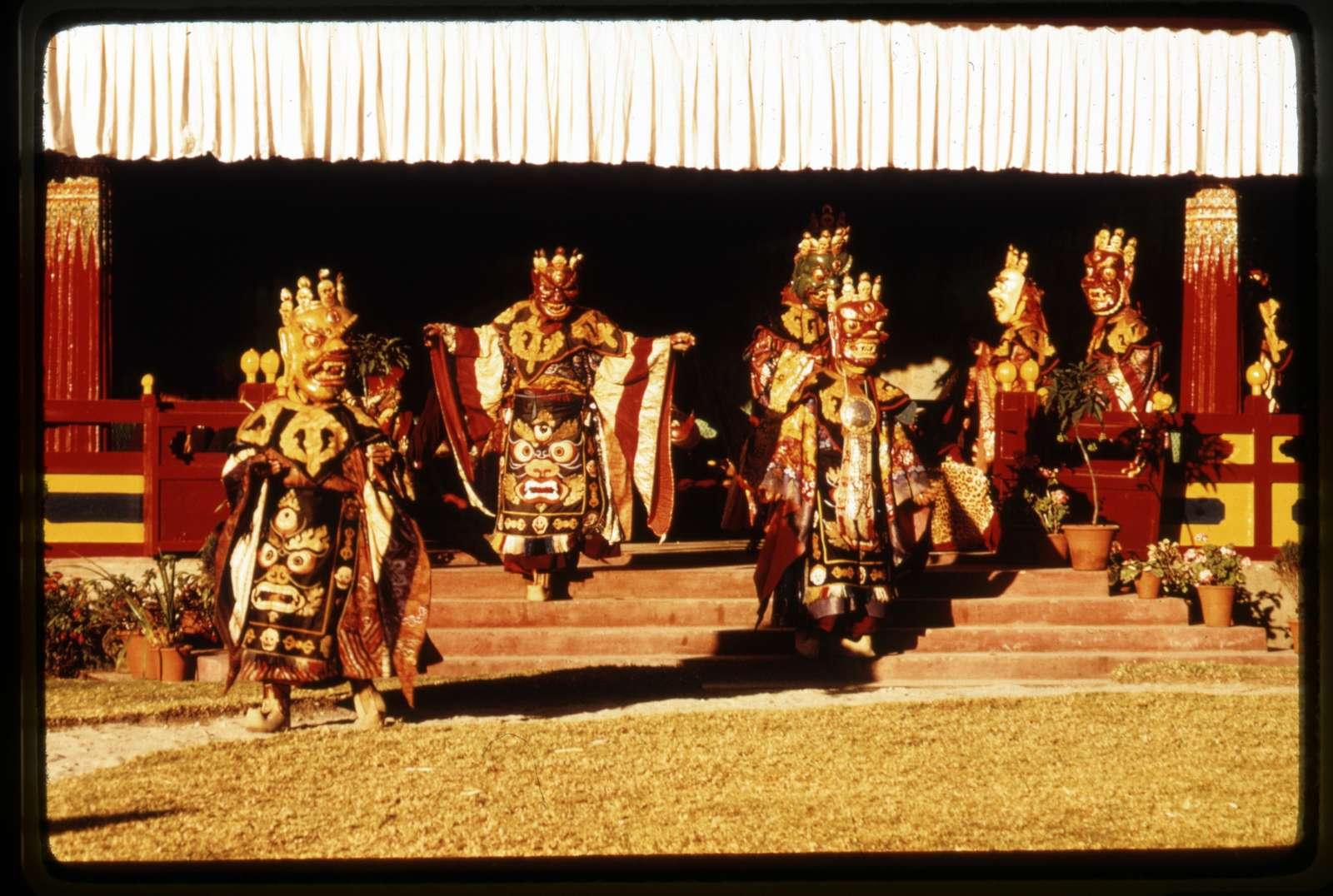 [Mahakala masked dancers entering the New Year's ceremony, Gangtok, Sikkim]