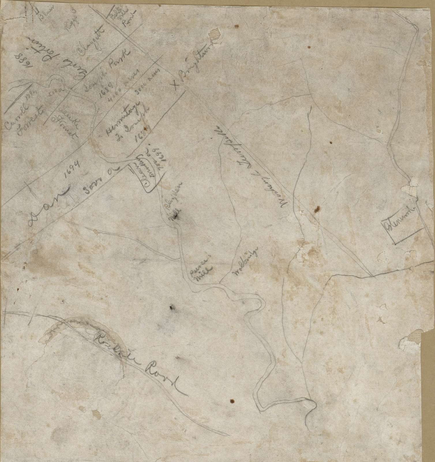 [Map of the area of northern Washington D.C. between Rockville Road and Washington Turnpike showing land tracts, owners' names, and dates].