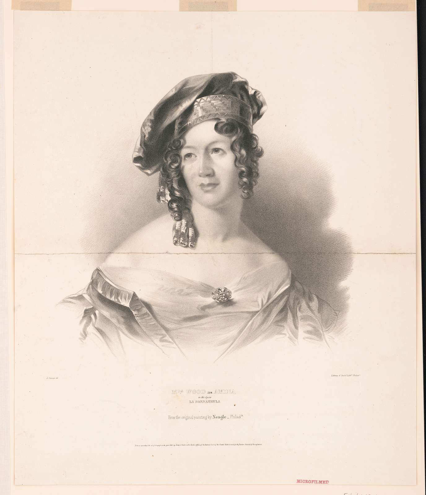 Mrs. Wood as Amina in the opera La Sonnambula. From the original painting by Neagle Philada