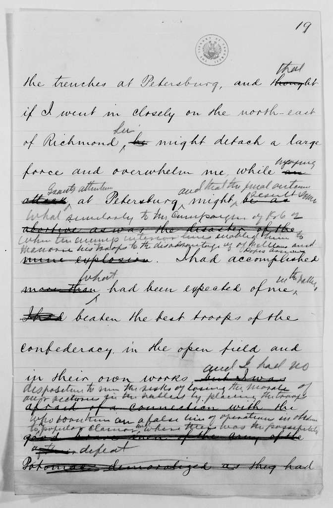 Philip Henry Sheridan Papers: Book and Speech File, 1878-circa 1883; Memoirs, undated; Vol. 2; Fragments