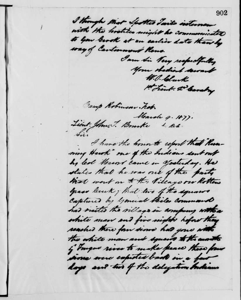Philip Henry Sheridan Papers: Subject File, 1863-1891; Indian affairs; 1876-1877