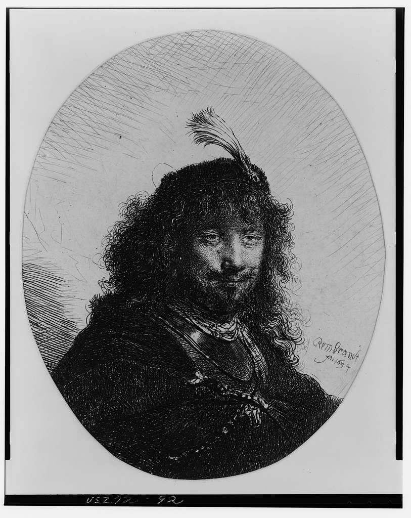 [Rembrandt with plumed cap and lowered sabre] / Rembrandt, 1634.