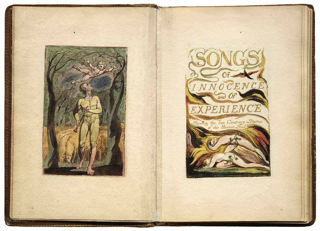 Songs of innocence and of experience, shewing the two contrary states of the human soul.  [London, W. Blake, 1794]  54 plates. col. ill. 19 cm.