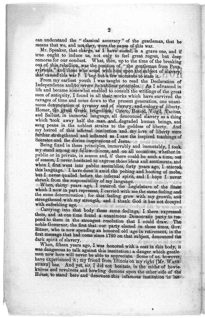 Speech of Hon. Thaddeus Stevens,of Pennsylvania, on the abolition of slavery. [Washington, D. C. 186-?].