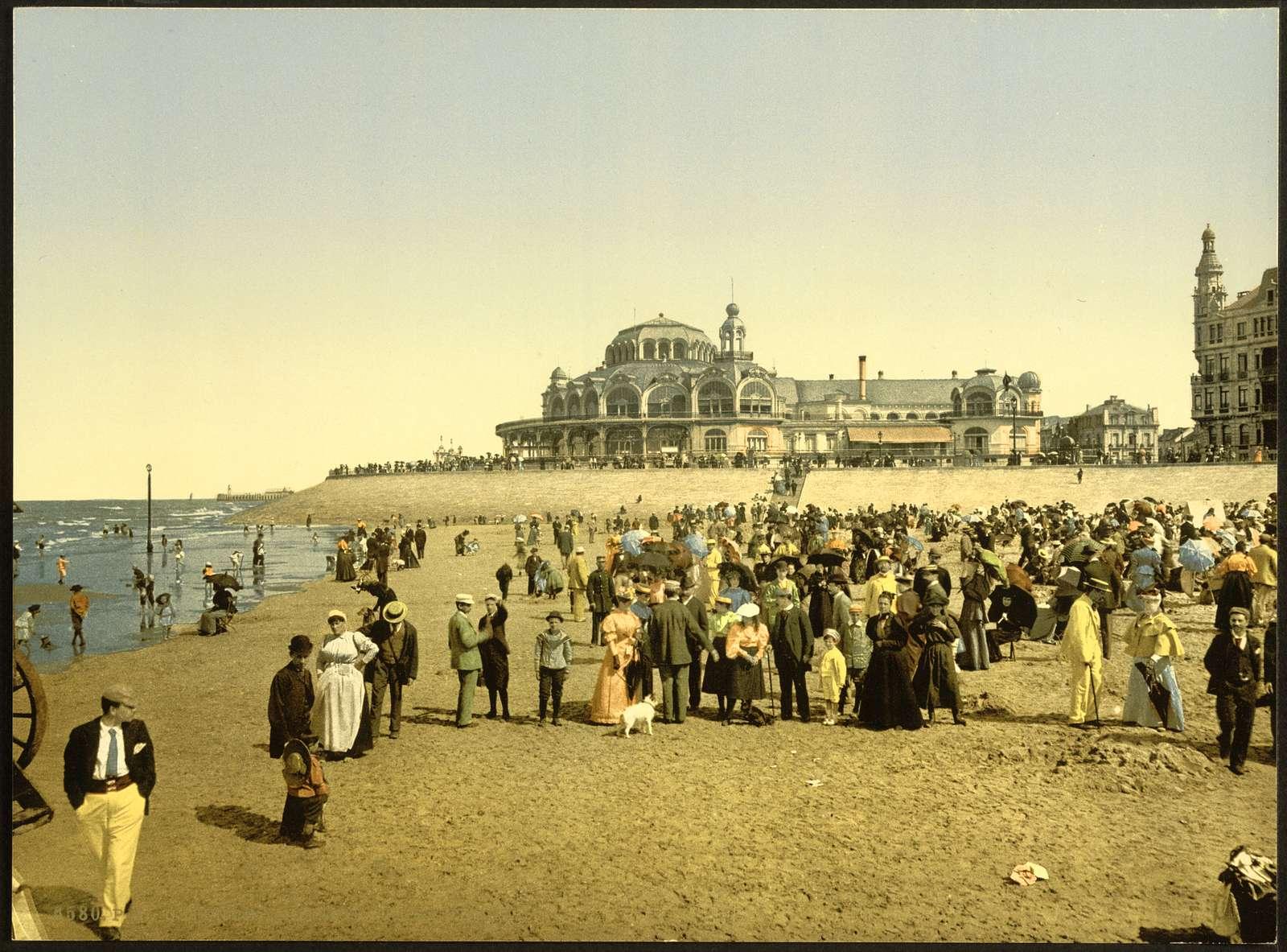 [The beach and the Kursaal, (i.e., Cursaal), Ostend, Belgium]