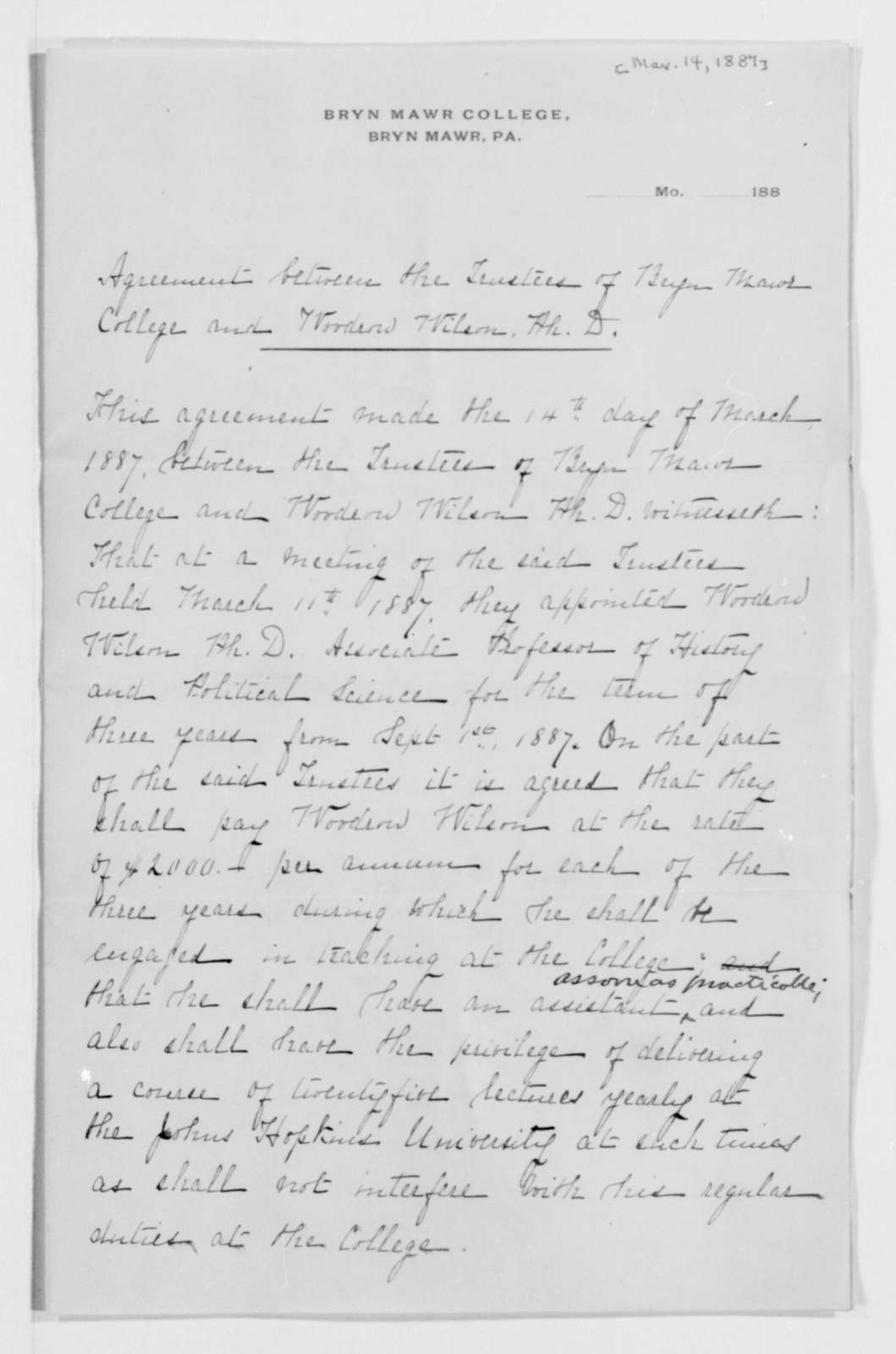 Woodrow Wilson Papers: Series 2: Family and General Correspondence, 1786-1924; 1887, Mar. 14-1889, Mar. 22