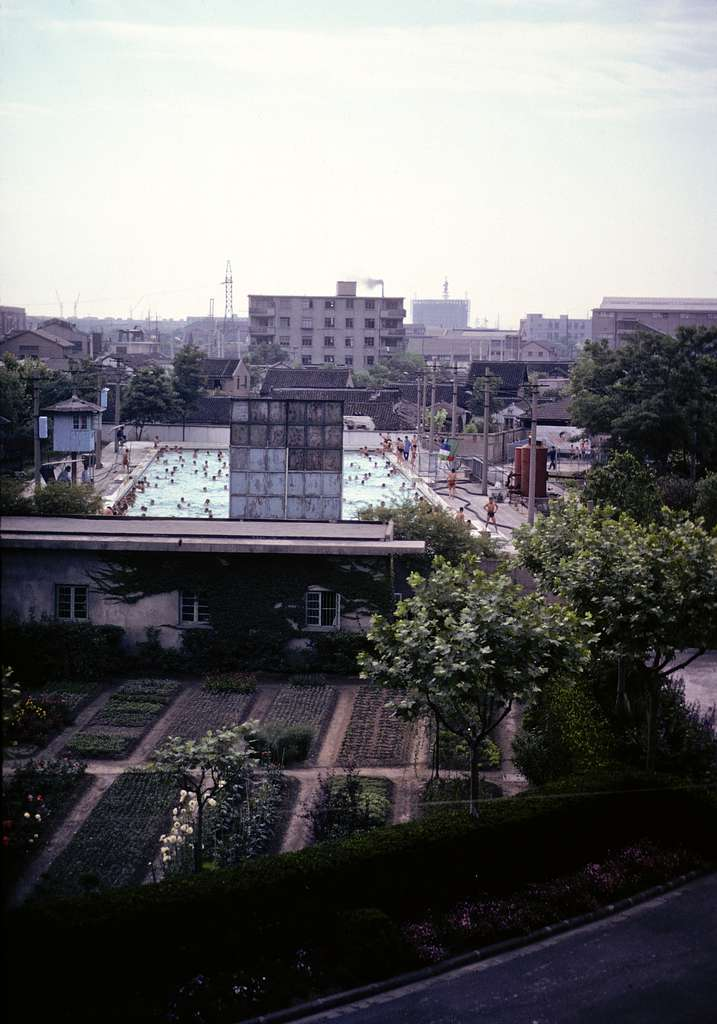 [Bird's-eye view of a backyard garden and a large swimming pool at the Children's Palace, Shanghai, China]