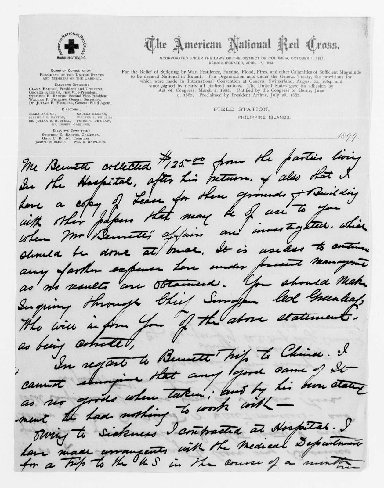 Clara Barton Papers: Red Cross File, 1863-1957; American National Red Cross, 1878-1957; Relief operations; Spanish-American War; Philippine Islands, 1899-1901