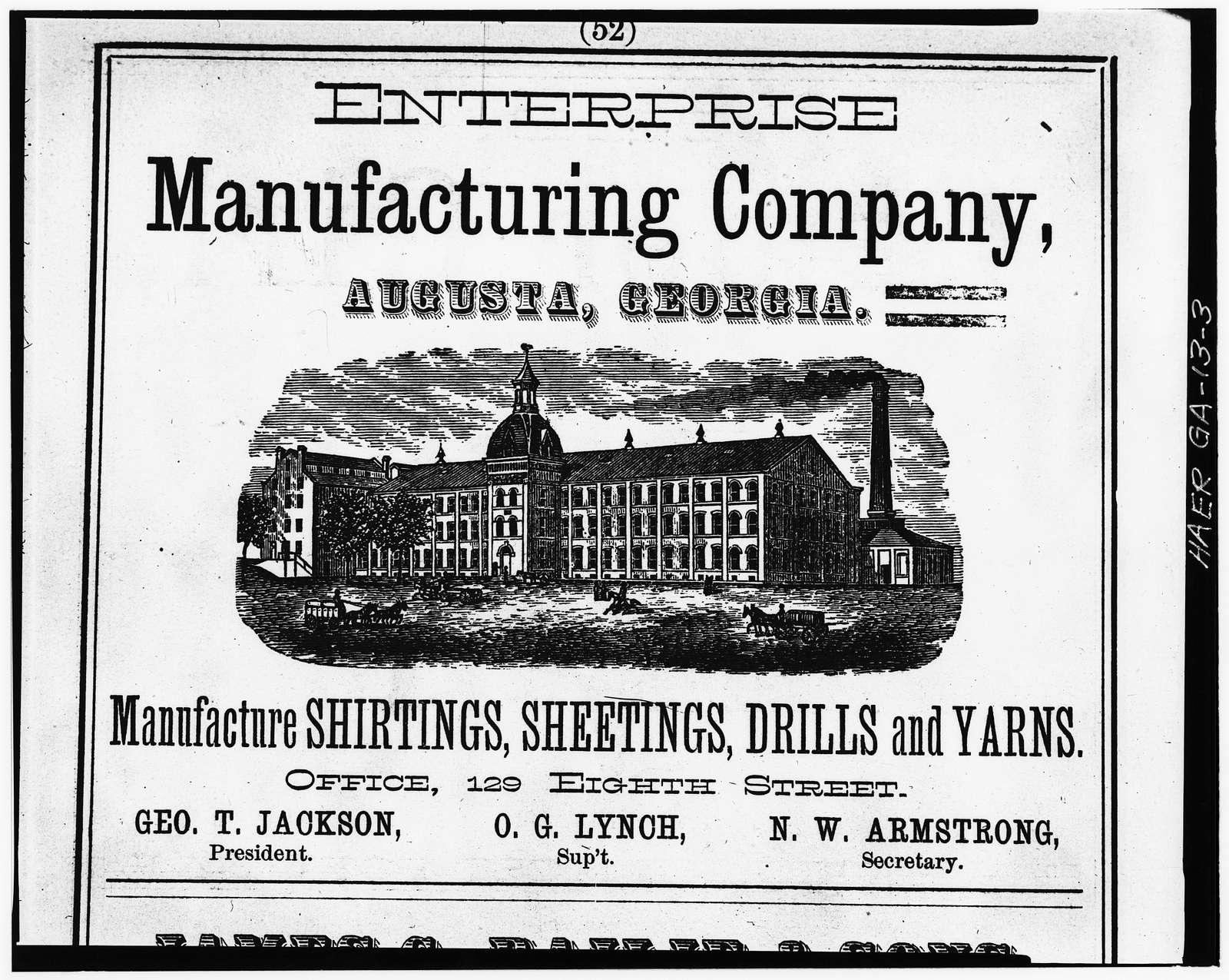 Enterprise Manufacturing Company, 1450 Greene Street, Augusta Canal, Augusta, Richmond County, GA