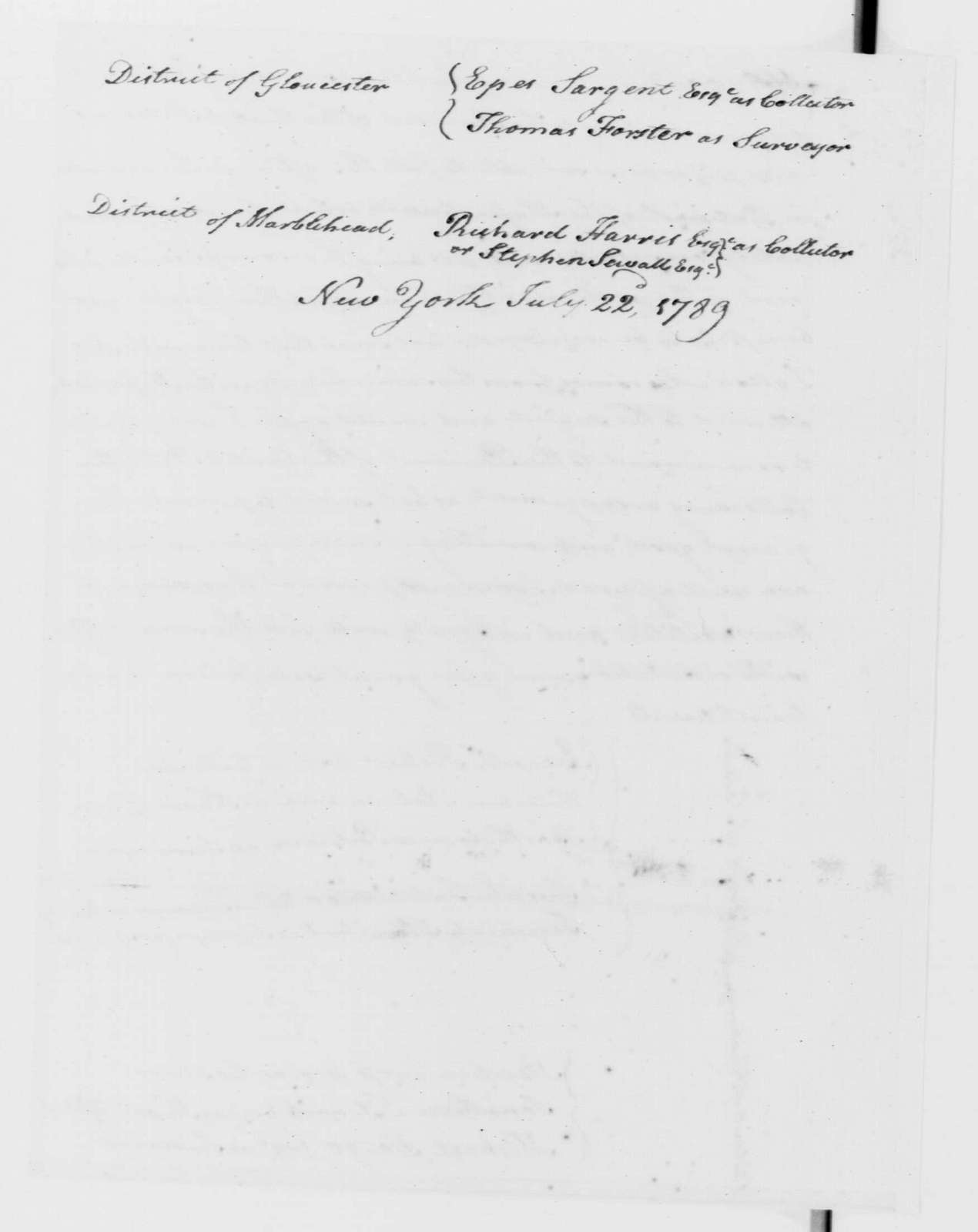 George Washington Papers, Series 7, Applications for Office, 1789-1796: Benjamin Goodhue