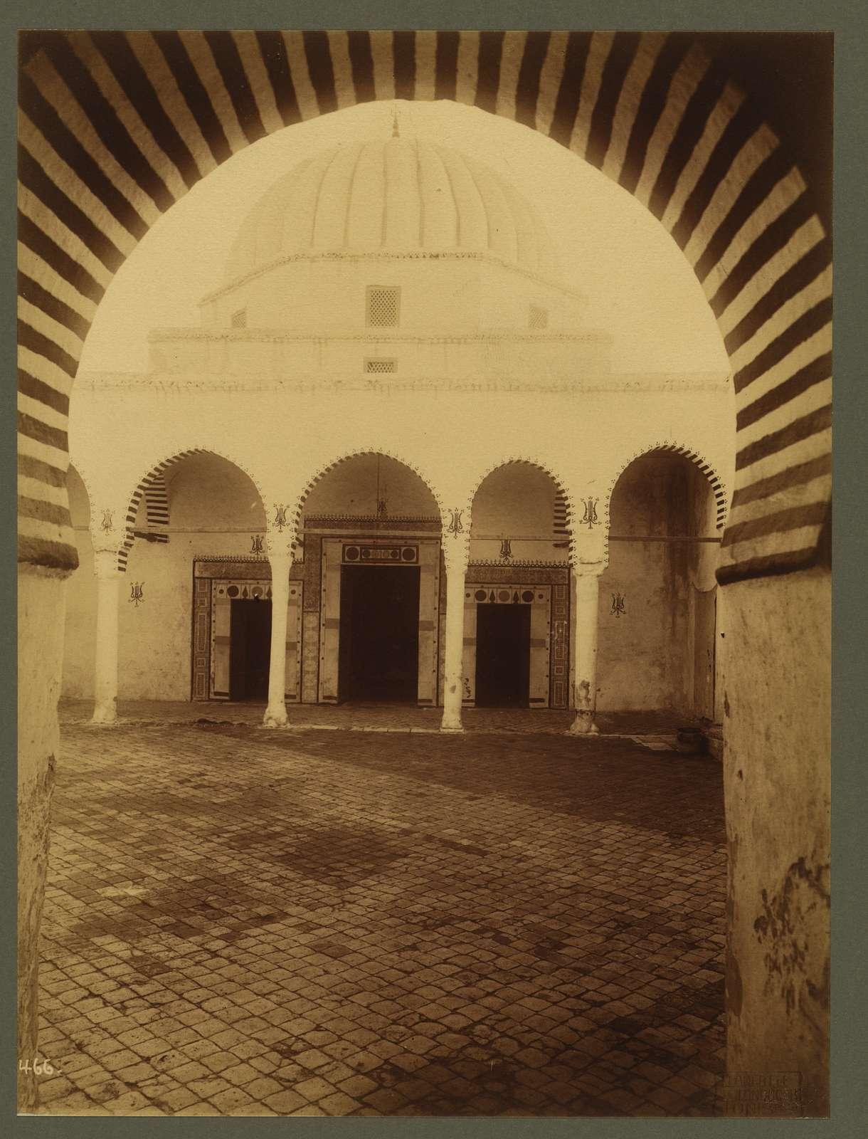 "Kairouan. Zaouia of the religious brotherhood of fanatics known as ""Aissaouas"" / Lehnert et Landrock, Tunis."