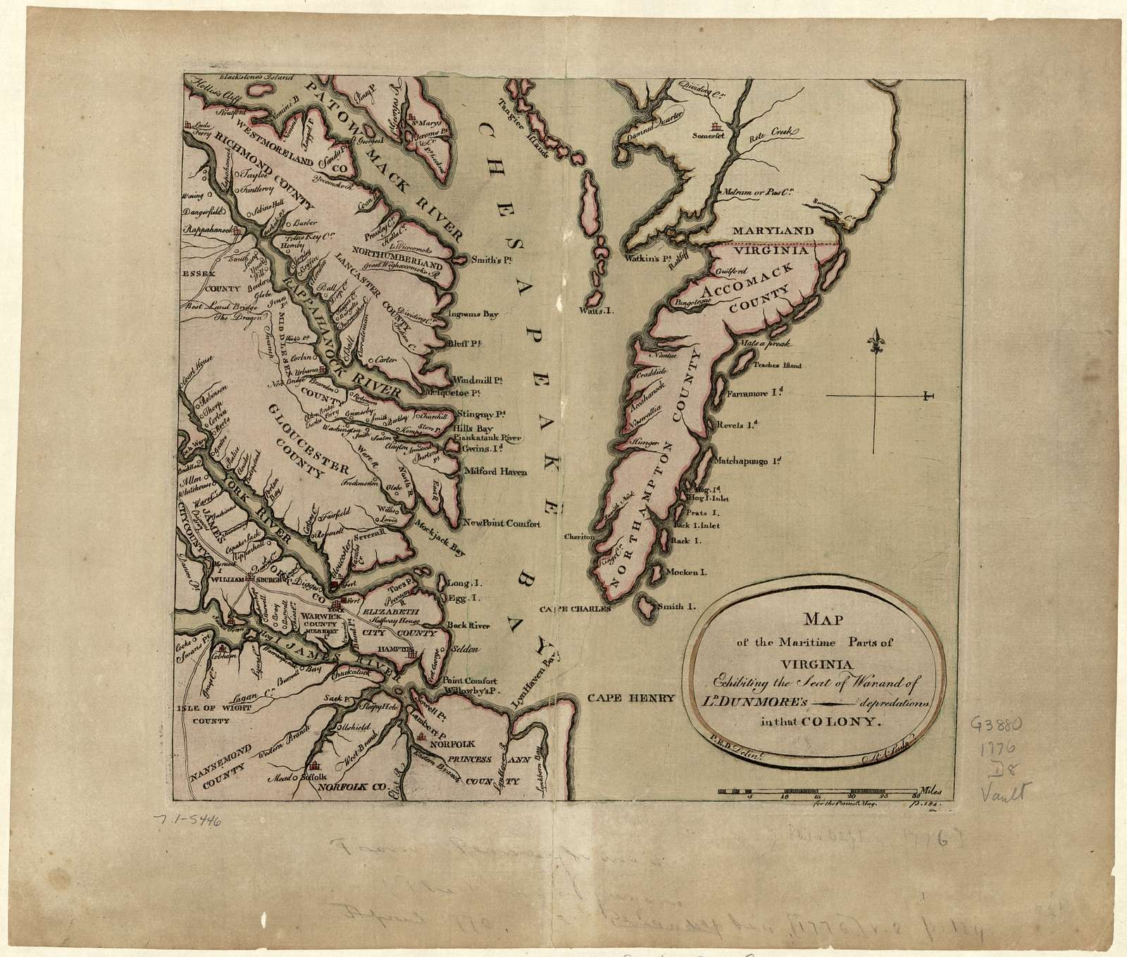 Map of the maritime parts of Virginia exhibiting the seat of war and of Ld. Dunmore's depredations in that colony.