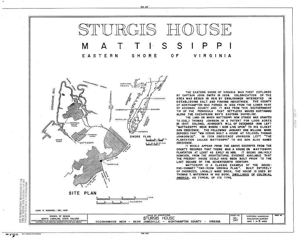 Sturgis House, Occohannock Creek, Jamesville, Northampton County, VA