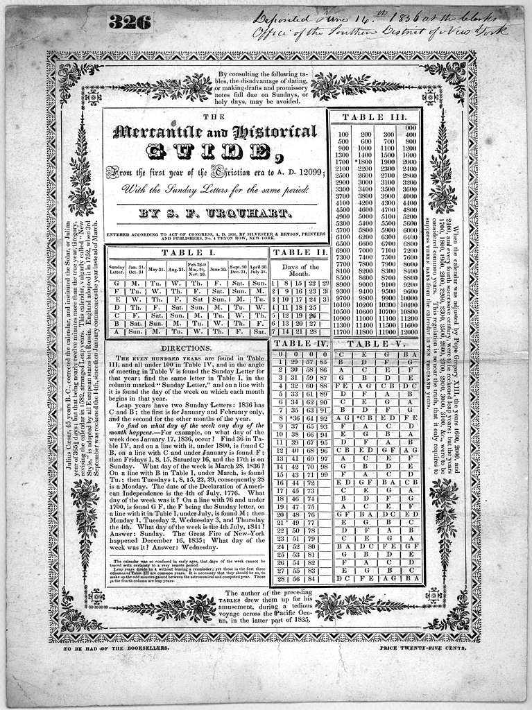 The mercantile and historical guide, from the first year of the Christian era A. D. 12099 with the Sunday letters for the same period. by S. F. Urquhart. New York. Silvester & Bryson, printers and publishers. 1836.
