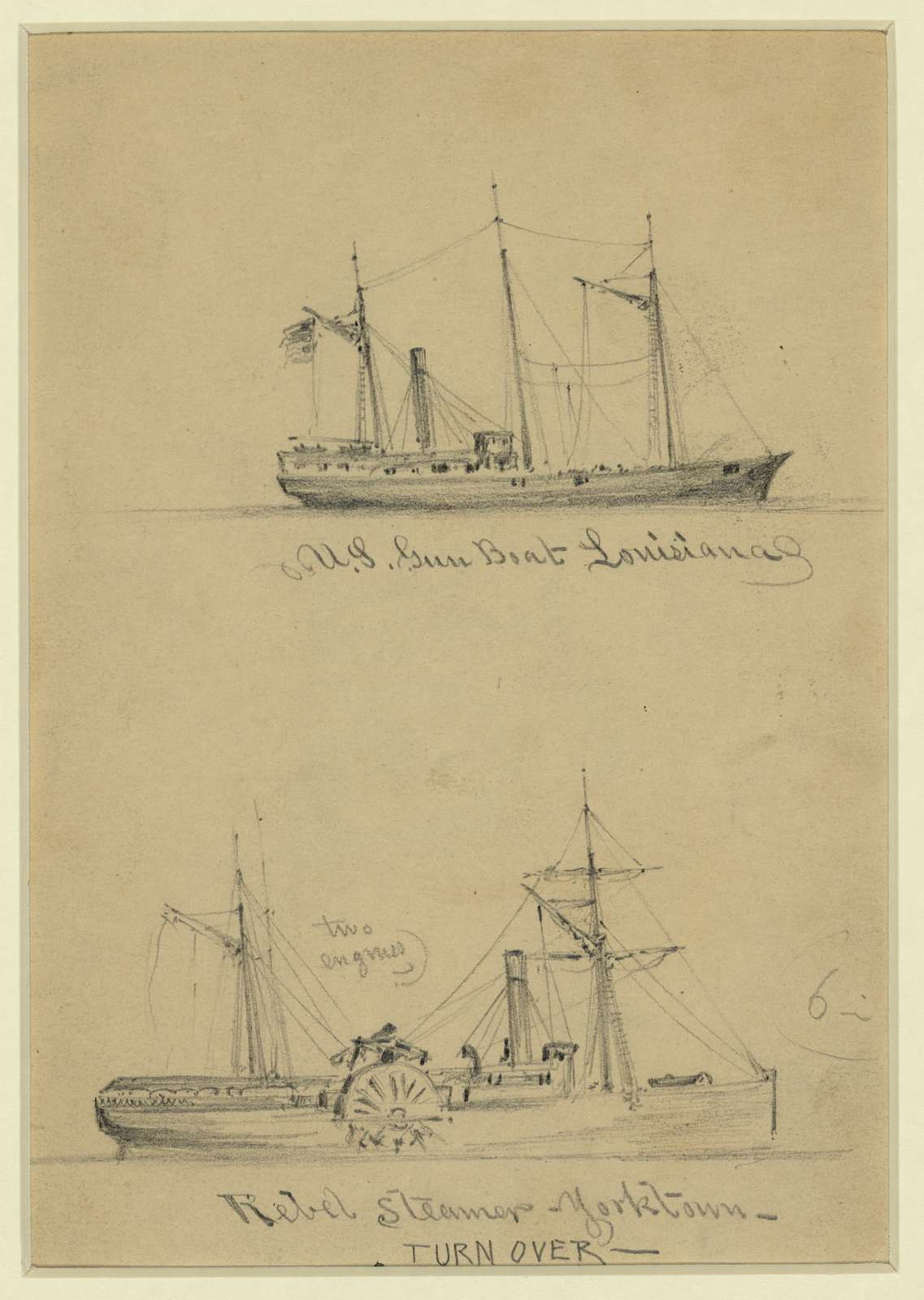 U.S. Gun Boat Louisiana. Rebel Steamer Yorktown
