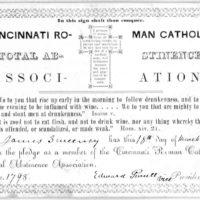 Temperance pledge filled in by James Sweeney 19 Nov  1841