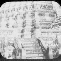 Bangkok - detail of Wat Chang; warrior figures at each side of steps leading to tower