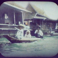 Bangkok - three women on small boat in the Menam River
