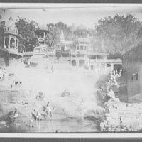 Benares - burning ghat on riverbank