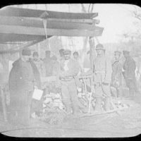 Convicts at cook house in camp near Eastern Siberian Railway
