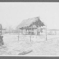 Goldes man in front of thatched-roof store-house built on stilts