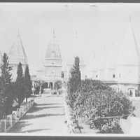Hindu temple and tombs of the kings from inside the walls - Jammu, Kashmir