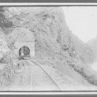Locomotive in mouth of tunnel - Manawatu Gorge