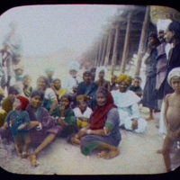 Madras - group of Tamil natives at the pier