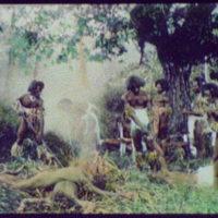 Seven warriors standing over 4 dead (?) bodies