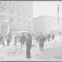 Cleaning the streets after a snow storm, New York