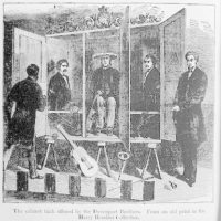 [The  Davenport brothers and William Fay with their spirit cabinet]