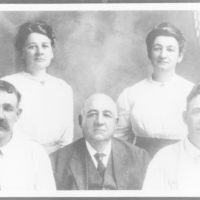 Left to right: Lydia Butcher, Wabel, Minerva Butcher Smith, George W. Butcher, S.D. Butcher, Abner Butcher.