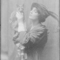 Cowl, Jane, Miss, with Buzzer the cat, portrait photograph