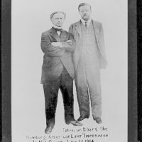[Houdini and President Roosevelt, full-length portrait, both standing, aboard the Imperator]