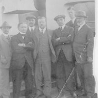 """[Houdini with Theodore Roosevelt and others aboard the H.A.L. """"Imperator""""]"""
