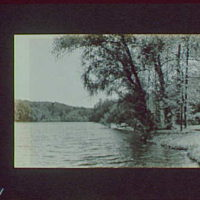 1917-1918, reference prints from negatives. River or lake bordered by trees on right I, horizontal
