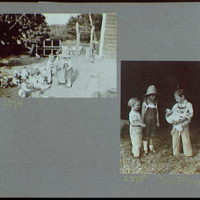 Reference prints, 1919-1920, numbers 2133-2377. Doris Gottscho, boy and girl feeding chickens; Doris Gottscho with girl and boy holding chicken I