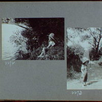 Reference prints, 1919-1920, numbers 2133-2377. Doris Gottscho fishing III; Doris Gottscho standing in the middle of a dirt road I