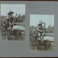 Reference prints, 1919-1920, numbers 2133-2377. Doris Gottscho, holding fish and fishing pole, sitting on a fence III