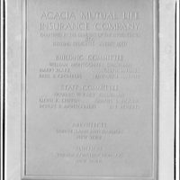Acacia Mutual Life Insurance Co. Building. Plaques from Acacia Mutual Life Insurance Co. Building I