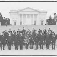 American Legion. Group of uniformed men in formation with flags by Tomb of the Unknown Soldier VI
