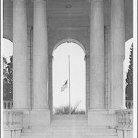Arlington National Cemetery. Flag at half-mast through door of Arlington National Cemetery Amphitheater