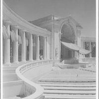 Arlington National Cemetery. Rostrum of Arlington National Cemetery Amphitheater with canopy from left to right