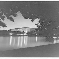 Bureau of Engraving and Printing. Exterior of Bureau of Engraving and Printing at night from across Tidal Basin I