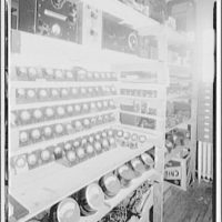 Capitol Radio Engineering Institute. Shelves of radio parts at Capitol Radio Engineering Institute