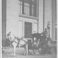Carts and wagons. Driver with top hat and whip on horse-drawn carriage on street II
