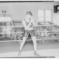 Charlotte Hall Military Academy. Boxer in ring, fighting stance I