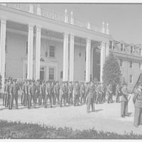 Charlotte Hall Military Academy. Cadets in formation before building III