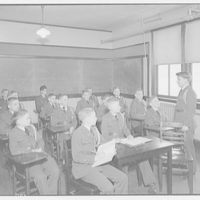 Charlotte Hall Military Academy. Cadets seated at desks in classroom
